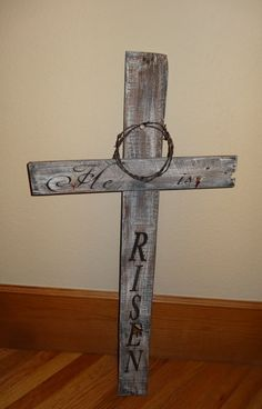 He is RISENRustic hand painted Cross by CherryCreekCrafts on Etsy