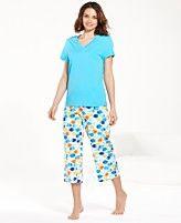 HUE V-Neck Pajama Top and Capri Pajama Pants