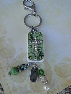 Domino Keychain with Cross and Beads  on www.countrygirlbling.etsy.com