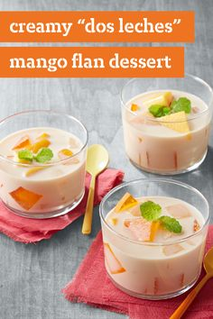 "Creamy ""Dos Leches"" Mango Flan Dessert – In this luscious mango flan dessert, the dos leches (two milks) in the name refer to evaporated and sweetened condensed milk. How sweet it is!"
