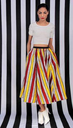 CLOTHING: striped skirt