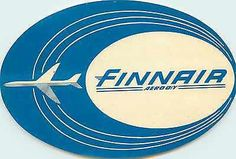 Finnair ~FINLAND~ Great Old Airline Luggage Label, c. 1955