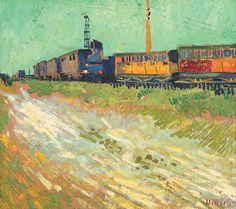 Vincent van Gogh (Dutch, Post-Impressionism, 1853-1890): Railway Carriages, August 1888. Oil on canvas, 45 x 50 cm. Musée Angladon, Avignon, France.