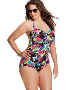 74f9e9b228 Anne Cole Plus Size Floral-Printed One-Piece Swimsuit - Swimwear - Plus  Sizes - Macy s