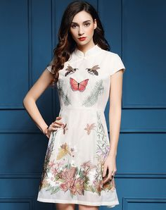 #VIPme White Cheongsam Embroidery A-line Short Dress ❤️ Get more outfit ideas and style inspiration from fashion designers at VIPme.com.