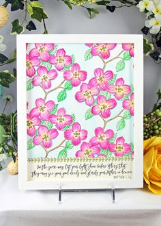 """I have always loved coloring books and painting, so it is wonderful to be able to do both using the new Watercoloring Decor Coloring Book 3.  I decided to color my images with bright colors by using Prima's watercolor pencils - Basics set.  The images are just beautiful and will make a beautiful addition to any room."" ~ Robin Shakoor #dogwoods #watercolor"