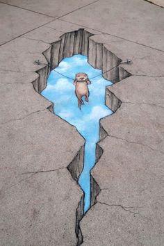 """Otter Reconsider"" David Zinn 2017 - chalk & charcoal on zoo sidewalk — at Det. - ""Otter Reconsider"" David Zinn 2017 – chalk & charcoal on zoo sidewalk — at Detroit Zoo, Mic - Murals Street Art, 3d Street Art, Street Art Graffiti, Street Artists, Graffiti Artists, Urban Street Art, 3d Sidewalk Art, Art Public, Pavement Art"
