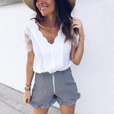 Summer Women Elegant Leisure Lace Blouse Female Stylish Fashion Top V-Neck Solid White Black Casual Shirt Lace Sleeves, Shirt Sleeves, Womens Holiday Tops, Black Casual Shirt, White Chiffon Blouse, Chiffon Blouses, Look Chic, Unique Fashion, Fashion Top