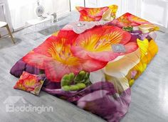 3D Vibrant Flowers Digital Printing Upscale Satin Drill 4-Piece Duvet Cover Sets