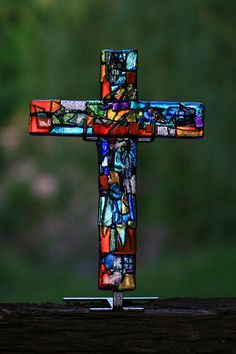 Coat of Many Colors Glass Wall Cross. From the Old Testament, representing Joseph's Coat of many colors.
