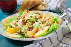 Pear and Tangerine Salad with Walnuts and Citrus Vinaigrette.