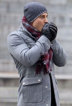 Choose grey field jacket for a refined yet off-duty ensemble. Shop this look on Lookastic: https://lookastic.com/men/looks/grey-field-jacket-charcoal-beanie-burgundy-scarf/14855 — Charcoal Beanie — Burgundy Plaid Scarf — Black Leather Gloves — Grey Field Jacket