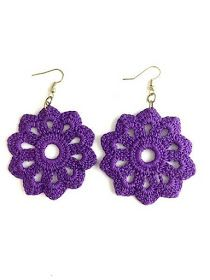Throw on these cute crochet earrings for a casual day out on the town! These earrings are handmade by New Orleans local artist, Lady Valkryie.crocheted jewelry creations by Alexandra Calub Crochet Earrings Pattern, Crochet Jewelry Patterns, Crochet Bracelet, Crochet Accessories, Crochet Designs, Quick Crochet, Cute Crochet, Knit Crochet, Crochet Patterns For Beginners