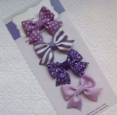 Boutique Perfectly Purple Petite Bow Set by Balasadesigns on Etsy Diy Baby Headbands, Baby Hair Clips, Baby Bows, Handmade Hair Bows, Diy Hair Bows, Diy Bow, Ribbon Hair Bows, Diy Ribbon, Hair Bow Tutorial