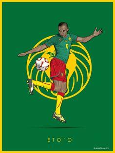 Samuel Eto'o - Legends of Football poster series by Jamie Meyer, via Behance Neymar Football, Football Icon, Football Themes, Football Design, Football Art, World Football, Football Players, Football Moms, Lionel Messi
