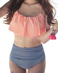 ed1e977d5a8 Tempt Me Two Piece Women Flounce Ruched Crop High Waist Vintage Bikini Set  Orange XL