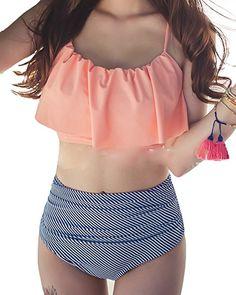 91634c9757061 Summer push up new bikini sexy Lotus leaf edge swimsuit bathing suit women  high waist swiming suits Halter Top swimwear
