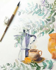 Coffee and eucalyptus still life original watercolor