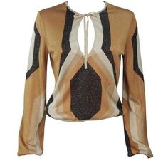 Preowned Gucci Gold Brown And Sand Lurex Knit Tie Front Blouse Size M ($795) ❤ liked on Polyvore featuring tops, blouses, brown, knit tops, gold top, brown blouse, tie front top and lurex top