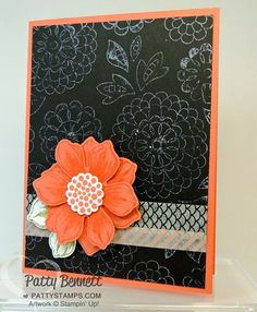 Lovely Lace Embossing folder from Stampin' Up! inked with White StazOn ink and used as a stamped background!  Fun flower punch and washi tape complete the card. by Patty Bennett www.PattyStamps.com