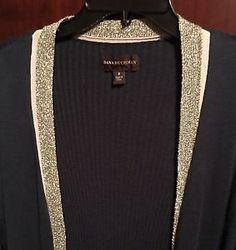 Dana Buchman Black Gold Metallic Cardigan Sweater Size Small Nice Free Shipping | eBay