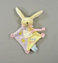 Doudou plat petit lapin velours jaune mauve Baby Nat