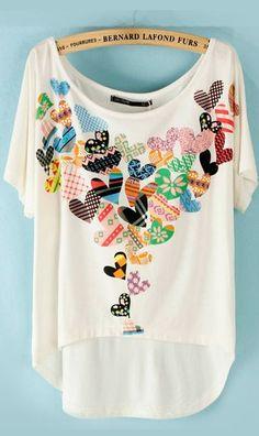 Cute Cheap Heart print high-low T-shirt B13220019 - T-Shirt OnlineShopping Free Shipping