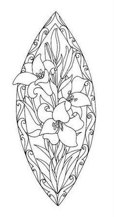 Coloring for adults - Kleuren voor volwassenen. Or stained glass design Flower Coloring Pages, Coloring Book Pages, Coloring Sheets, Mandala Coloring, Doodle Drawing, Parchment Craft, Stained Glass Patterns, Printable Coloring, Pyrography