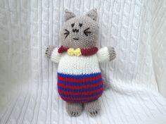 Hand Knit Kitty Doll Plush Toy Waldorf Kitten Cat by Girlpower, $27.00