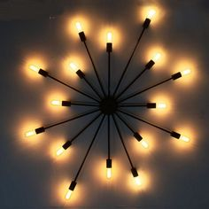 American Iron Wall Light Creative Sun Design Bar Cafe Clothing Shop Party Decorative Wall lamps 7/ 15 heads lighting ZA #Affiliate