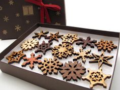 Mini Wooden Snowflake Ornament Gift Box. Rustic Handmade Designs Laser Cut from Sustainable Harvest Wisconsin woods.. $27.95, via Etsy.