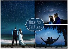 Night Sky Photoshop Overlays: Moon and Stars Photo Layer, Starry Night Background Backdrop for photographers, Falling Stars Realistic Effect
