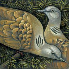 Two Turtle Doves, Bird by Sara Tyson Twelve Days Of Christmas, Christmas Art, Christmas Graphics, Christmas Animals, Green Christmas, Christmas Themes, Collage, Bird Design, Bird Feathers