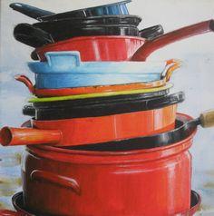 Pan, acrylic paint