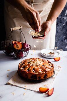 Delicious plum and almond cake recipe. Easy to make, soft, moist and spongy bake, perfect with your favourite cup of tea or coffee! Banana Recipes, Pumpkin Recipes, Cake Recipes, Anna Banana, Thing 1, Plum Cake, Baking Tins, Toasted Almonds, Fruit In Season