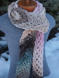 Hand Knit Noro Chunky Lace Scarf Gray Taupe by IndigoKittyKnits, $40.00