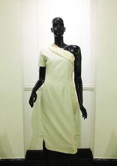 Asymmetric dress with faux fur trim by VISUU