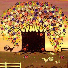 Print of Folk Art Abstract Painting Tree Flowers Modern Whimsical Bird