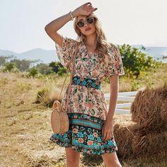 Floral Mini Dress For Women Short Sleeve Bohemian New Spring V | Etsy