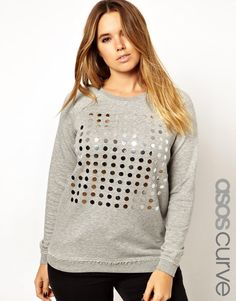 ASOS CURVE Exclusive Sweatshirt With Mirror Detail