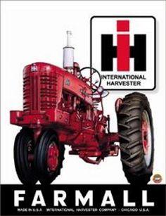 Farmall - IH - Farmall 400 : Plaque décorative rétro en métal représentantun tracteur Farmall. Idéal pour créer une décoration vintage dans une ferme, un atelier de réparation ou même une concession de tracteur.