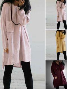 b081a60959 Shop Blouse - Long Sleeve Casual Cotton Shift Blouse online. Discover  unique designers fashion at