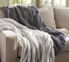 Chunky Cable Handknit Throw | Pottery Barn...found my dream blanket!