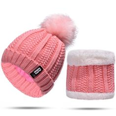 Scarf watermelon pink Kids Cute 3 in 1 Hoodie Hat Winter Fluffy Full Hood Hat with Mittens Pocket