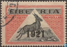 Postage stamp depicting a  Bongo Antelope with print 1921, from  Liberia