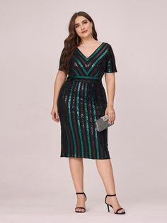 #plussizedress#plussize#cocktaildress#workdress#mididress#dress#sequindress# Ever Pretty, Plus Size Dresses, Designer Dresses, Cold Shoulder Dress, Short Sleeve Dresses, Sequins, V Neck, Gowns, Collection