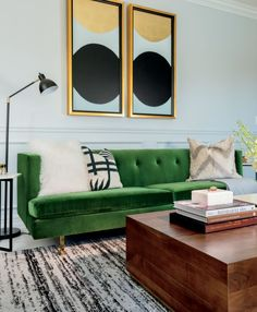 - January Catalog 2020 - Avec Emerald Green Sofa with Brass Legs Living Room Green, Green Rooms, New Living Room, Living Room Sofa, Living Room Decor, Living Room With Color, Emerald Green Sofa, Green Velvet Sofa, Green Couches