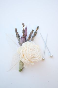 Sola Boutonniere with Lavender and Pods by Eucca on Etsy, $12.50