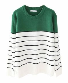 Contrast Stripe Long Sleeves Knitting Pullover