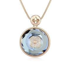 """Fashion Jewelry Circle Style Sterling Swarovski Crystal Long Sweater Chain Pendant Necklace, 30"""", Black Jewelry & Accessories Collection http://www.amazon.com/dp/B00IXD3152/ref=cm_sw_r_pi_dp_Ld4wub1W6ATEM"""